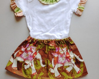 CLEARANCE PRICE!! 2 LEFT!! Baby's Green and Pink Striped Ruffled Onesie with Coordinating Green and Pink Elephant Skirt