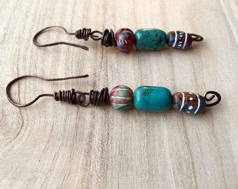 Gypsy Dangle Earrings, Tribal beaded earrings, ethnic style, Boho Jewelry, Bohemian, Hippie, Rustic Bride, primitive, turquoise blue, copper