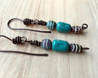 Sale Boho Dangle Earrings, Primitive beaded earrings, ethnic style Bohemian earrings, Hippie, Rustic Bride, Tribal, turquoise blue, hammered