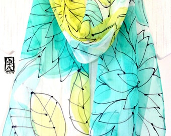 Mint Scarf, Mint Chiffon Scarf, Silk Scarf Handpainted, Mint Green, Chartreuse Green, Black Floral Scarf, Chiffon Scarf, 10x59 inches