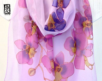 Large Silk Scarf Hand Painted, Chiffon Scarf, Gold, Blue Purple and Pink Orchids scarf, Silk Scarves Takuyo, 14x72 inches. Made to order