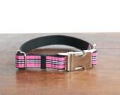 Designer Dog Collar, Tartan Plaid Collar, Pink Dog Collar
