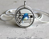 Hand Painted Musical Bluebird Necklace Pendant Jewelry Music Notes Blue Bird