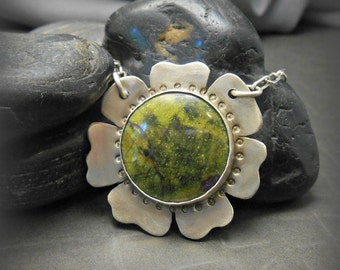 Brushed Sterling Flower Blossom Pendant with Atlantisite Stone Cabochon