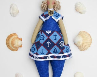 Fabric doll blue sailor blonde stuffed doll cloth doll plush nautical doll softie - birthday gift  for girls