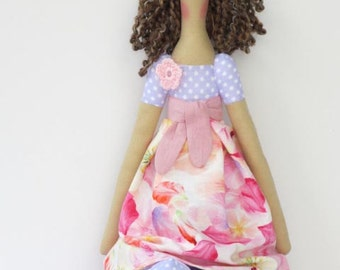 Tilda doll fabric doll lilac pink cloth doll brunette polka dot flower rag doll cute stuffed doll gift for baby shower and nursery decor