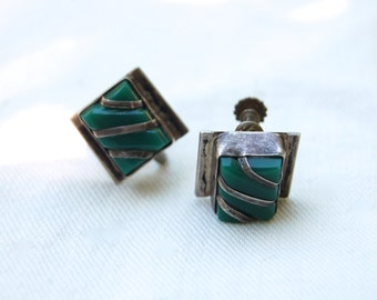 Mexican Screw Back Earrings Vintage Green Jade and Sterling Silver Screwbacks Made in Mexico