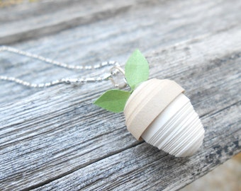 Quilled Acorn Necklace. Wedding Gift, Bridesmaid, Mom, Anniversary Gift. Paper Necklace. Unique Gift