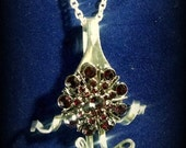 Fork Necklace with Deep Ruby Red Rhinestone Pendant, Vintage Look, Repurposed, Recycled