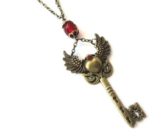 Winged key necklace red crystal jewelry antique brass bronze winged heart necklace steampunk skeleton key pendant long chain
