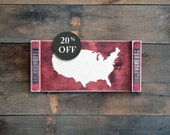 USA Sign - US Map - Wall Hanging Map - America Plaque - Wood