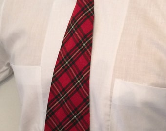 On Sale Vintage MENS Bond Style Manor red, green & white plaid rockabilly or swing tie, circa 40s-50s