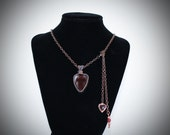 Lovely Artisan Glass Cross Pendant - Handcrafted Woven Copper - 100% proceeds to Charity & Free Shipping