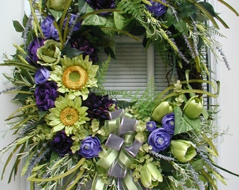 Front Door Wreath Summer Wreath Large Spring Spray Silk Floral Decoration Grapevine Wreath Spring Decor Purple Green Sunflowers Tulips Roses