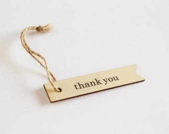 5 Wooden Thank You Hang Tags