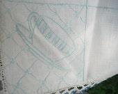 Vintage TEA CUP RUNNER Dresser Scarf Linen w/ Crochet Lace Trim Linens