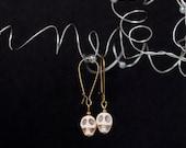 Sugar Skull Earrings Day of the Dead Antique Brass Earrings
