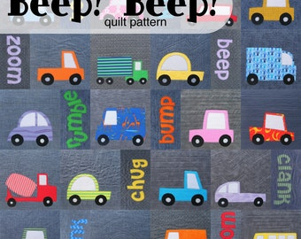 Beep! Beep! Cars and Trucks Quilt Pattern (digital PDF pattern)