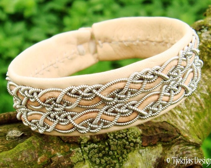 MUNINN Viking Braid Natural Reindeer Leather Bracelet. Luxury Custom Handmade Swedish Saami Lapland Folk Art Jewelry for Men and Women