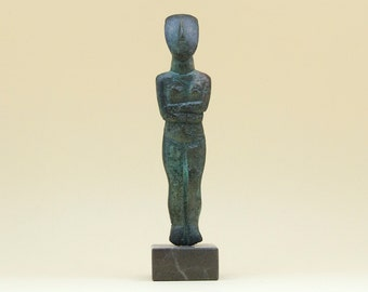 Cycladic Greek Bronze Figurine, Abstract Art Metal Sculpture, Greek Statue, Minimalist Cycladic Art, Museum Replica, Art Decor