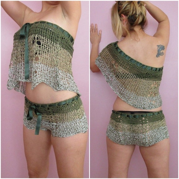 Crochet Two pc Set Loose Halter / Belted Shorts Women Girl