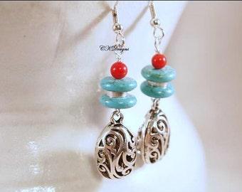 Southwestern Style Earrings, Howlite Turquoise Beads, Red Coral Beads, Dangle Beaded Pierced Earrings. OOAK Handmade earrings. CKDesigns.US