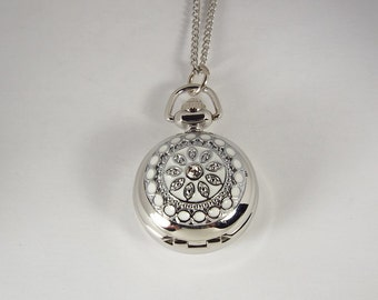Personalized Pendant Watch Custom Engraved Necklace Watch White Enamel and Crystals  - Hand Engraved