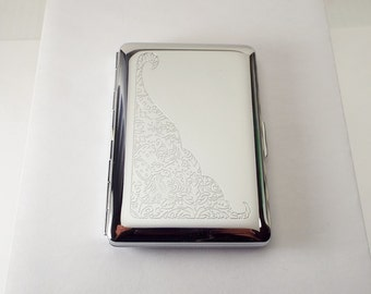 Custom Engraved Business Card Case Scroll Design Business Card or Single Sided Cigarette Case  -Hand Engraved