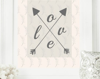 "Instant 8x10 ""Love in Arrows"" Peach & gray Digital Wall Art Print, Modern Christian Art, Scripture Print, Digital Download"