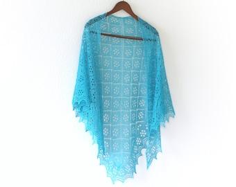 Knitted shawl, handknit shawl, bridal shawl, bridesmaids shawl, lace shawl, turquoise shawl, gift for her, wedding shawl