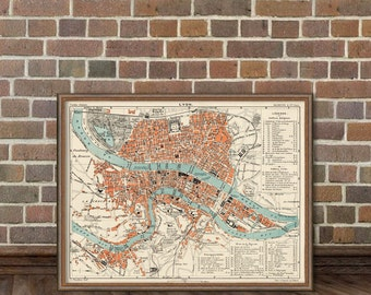 Old map of Lyon - Carte de Lyon -  Fine archival reproduction