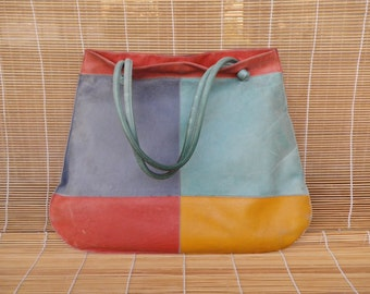Vintage Lady's Red Yellow Blue Leather Tote Open Top Hand Bag Hobo Purse
