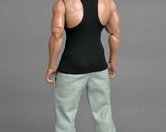 1/6th scale black XXL tank top for Hot Toys TTM 20 size bigger action figures and male fashion dolls