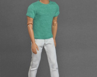 1/6th scale green T-shirt for: male collectible action figures and fashion dolls