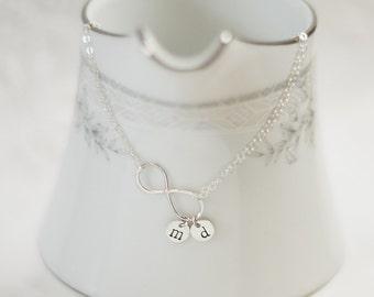 Silver Infinity Bracelet | Sterling Silver Initial Bracelet | Personalized | Sideways Infinity Bracelet | Modern Jewelry | Graduation Gift