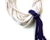 Infinity Scarf - Tshirt Necklace - Purple Ivory Scarf - Knotted Scarf - Repurposed Upcycled Tshirt - Cotton Scarf - Summer Scarf