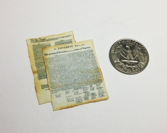 SALE - Miniature Declaration of Independence + Constitution / 1:12 Dollhouse Vintage Papers / Historical Documents / Patriotic / Americana
