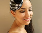 Pin-Up Style, Black and White Houndstooth, Felt Fascinator Cocktail Hat - Womens Headpiece