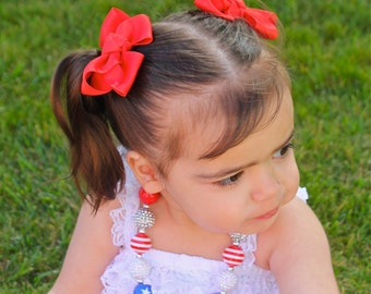 Red Pigtail Bow Set - Pigtail Bows  - Red Pig Tail Bows