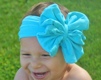 Baby Girl Headwrap - Turquoise Floppy Bow - Messy Bow Head Wrap - Big Teal Bow