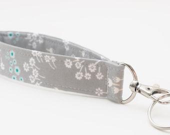 Snap Keychain, Key Fob, Wristlet Lanyard, Organic Fabric, Grey Flowers