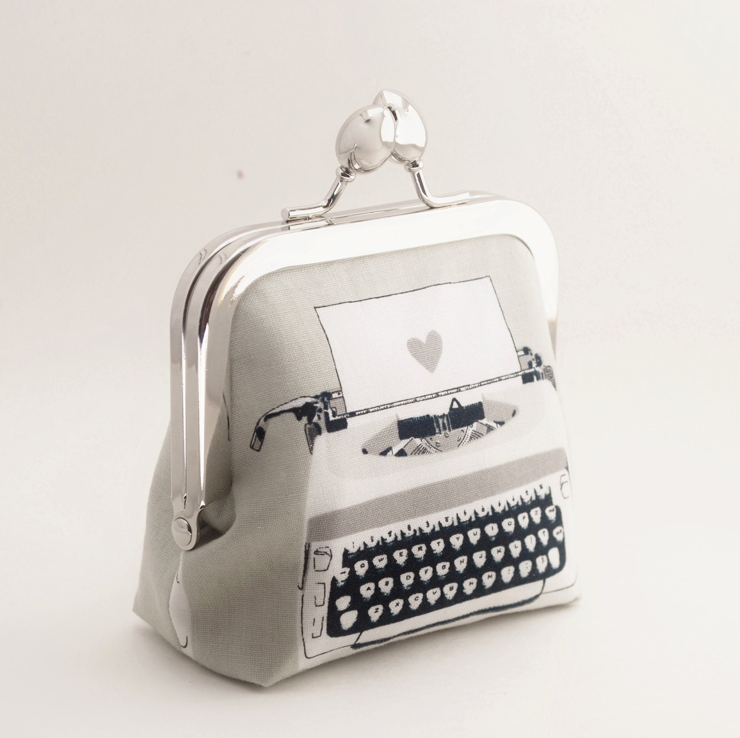 Coin Purse Snap Frame Purse Typewriter And Heart Black