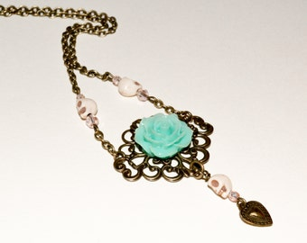 Rose Necklace, Flower Skull Necklace, Turquoise Rose, Dia De Los Muertos Necklace, Day of the Dead Jewelry, Skull Necklace, Flower Necklace