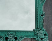 Extra Large Ornate Vintage Mirror Wall Mirror Aqua Teal Turquoise Ornate Gilded Frame, Hollywood Regency Paris Apartment, French Gothic