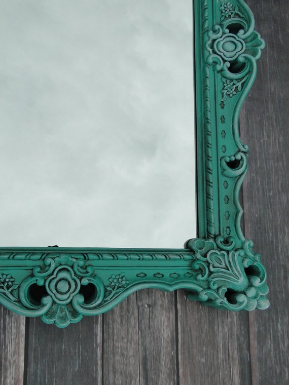 extra large ornate vintage mirror wall mirror aqua teal