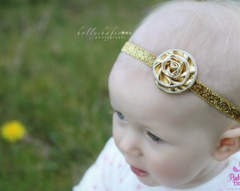 Gold Baby Headband - Infant Hair Bows - Gold Newborn Headband - Baby Gold Flower Headband - Baby Hair Accessories - Gold Hairbows Baby Bows