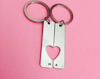 SALE Half Heart Personalized Keychains, Heart Cut Out Keychains, Couples Keychains, Personalized gift for couples, Romantic Couples GIft