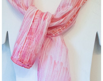 "Striped Silk Scarf. Hand-painted silk scarf. Handmade silk scarf. 11""x60"" Habotai. Handpainted silk scarf. Hand painted silk scarves"