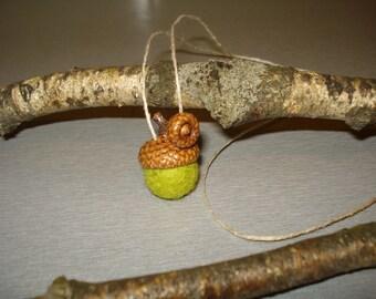 Acorn Good Luck Amulet Strand Necklace - Wool Felt Bead Apple Green & Real Acorn Cap Hat Top, Children Kids Eco-Friendly Jewelry, Gift idea