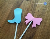 Cupcake Toppers: Boots or Bows Gender Reveal Party Boots or Bows Baby Shower - Die Cut Pink Girl Hair Bow & Blue Boy Cowboy Boots